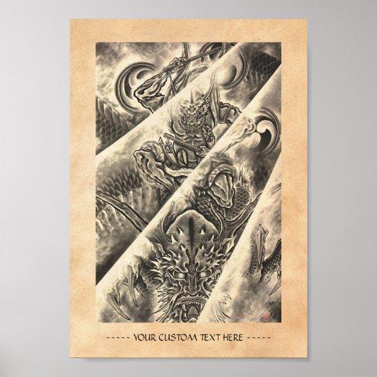 Tatuaje japonés de la tinta del demonio del póster