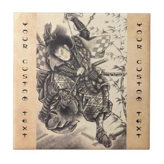 Tatuaje japonés de la tinta del demonio del vintag tejas