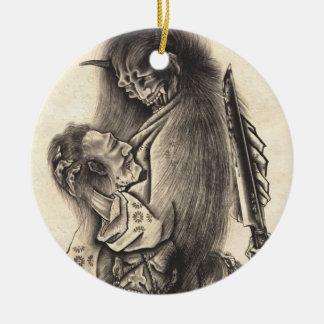 Tatuaje japonés de la tinta del demonio del vintag ornamento para arbol de navidad