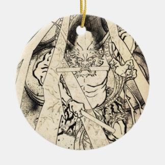 Tatuaje japonés de la tinta del demonio del vintag ornaments para arbol de navidad