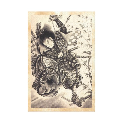 Tatuaje japonés de la tinta del demonio del vintag lona estirada galerias