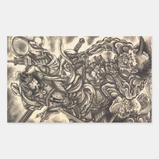 Tatuaje japonés de la tinta del demonio del vintag rectangular pegatina
