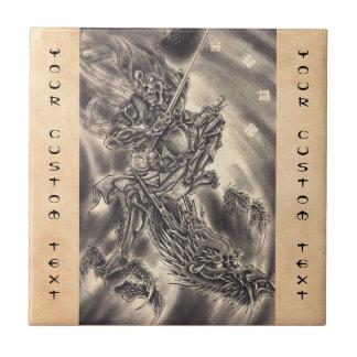 Tatuaje japonés del dragón del demonio del vintage teja  ceramica