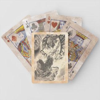 Tatuaje japonés del monje del demonio del vintage  baraja cartas de poker