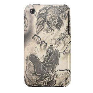 Tatuaje japonés del monje del demonio del vintage funda para iPhone 3