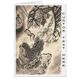Tatuaje japonés del monje del demonio del vintage  tarjeta pequeña