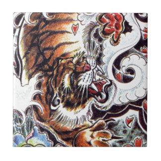 Tatuaje japonés del tigre azulejo cuadrado pequeño