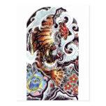 Tatuaje japonés del tigre tarjeta postal