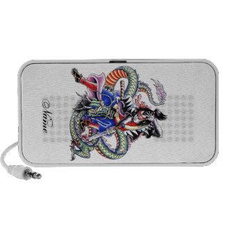 Tatuaje japonés fresco del dragón de la lucha del  laptop altavoz