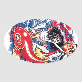 Tatuaje japonés fresco del rojo de la carpa de Koi Pegatinas Óvales