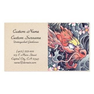 Tatuaje japonés oriental fresco de dios del dragón tarjetas de visita