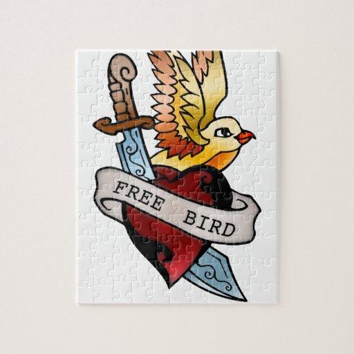 tatuaje libre del pájaro del vintage puzzles con fotos