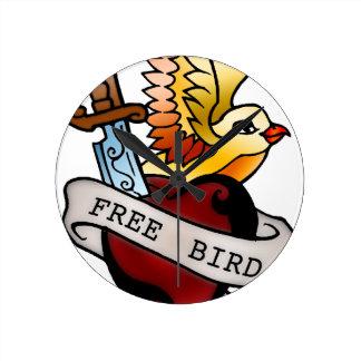 tatuaje libre del pájaro del vintage reloj redondo mediano