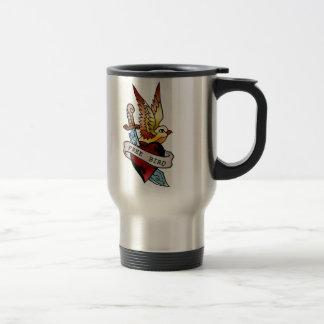 tatuaje libre del pájaro del vintage taza de viaje de acero inoxidable