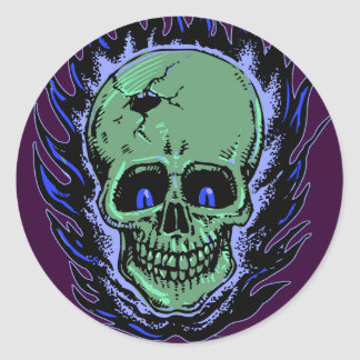 Tatuaje llameante del cráneo pegatina redonda