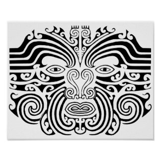 Tatuaje maorí - blanco y negro impresiones