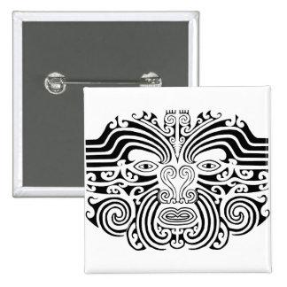 Tatuaje maorí - blanco y negro pin cuadrada 5 cm