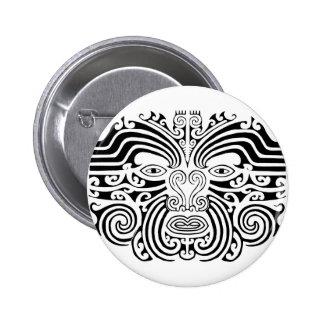 Tatuaje maorí - blanco y negro pin redondo 5 cm