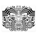 Tatuaje maorí - blanco y negro postal