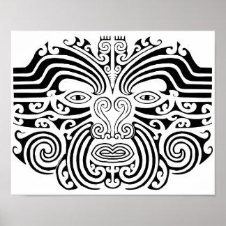 Tatuaje maorí - blanco y negro póster