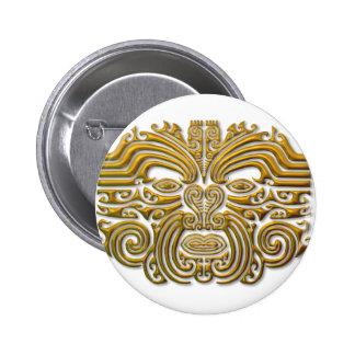 Tatuaje maorí - oro pin redondo 5 cm
