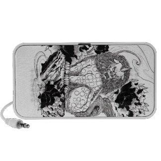 Tatuaje mítico del león de la tinta oriental fresc notebook altavoz
