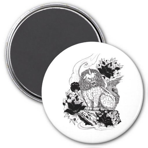Tatuaje mítico del león de la tinta oriental fresc imán redondo 7 cm