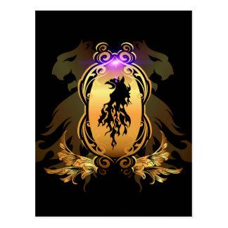 Tatuaje negro impresionante del león en un escudo tarjeta postal