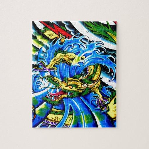 Tatuaje neo del dragón de Jap Puzzle Con Fotos