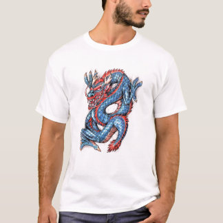 Tatuaje oriental azul fresco del dragón playera