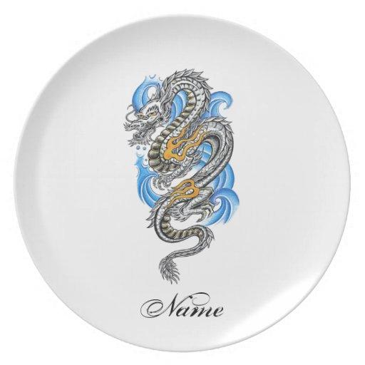 Tatuaje oriental de plata fresco del dragón plato de comida