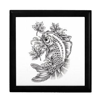 Tatuaje oriental fresco de la carpa de los pescado caja de regalo
