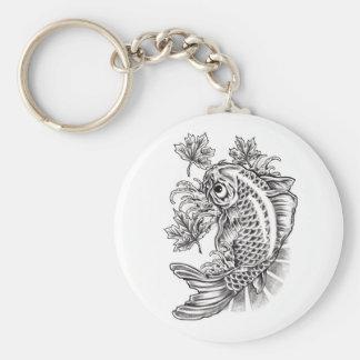 Tatuaje oriental fresco de la carpa de los pescado llavero redondo tipo pin