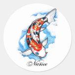 Tatuaje oriental fresco de la nube de la carpa de  etiqueta