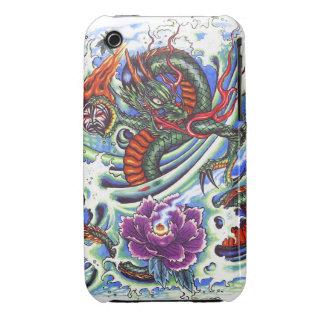 Tatuaje oriental fresco de Lotus del dragón de iPhone 3 Case-Mate Funda