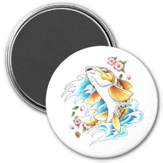 Tatuaje oriental fresco del agua de pescados de la imán redondo 7 cm