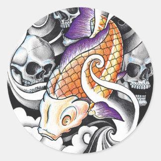 Tatuaje oriental fresco del cráneo de la carpa de pegatinas