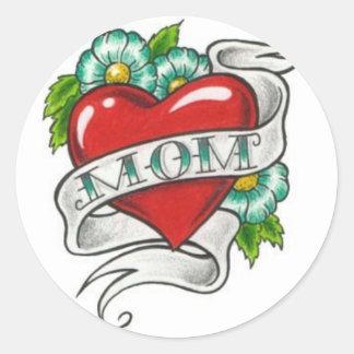 Tatuaje retro de la mamá pegatina redonda