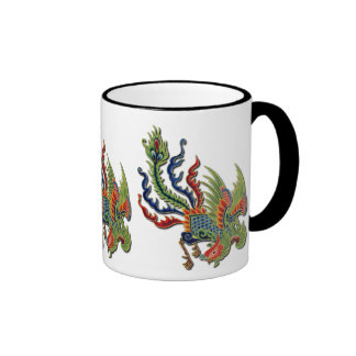 Tatuaje rico del chino del vintage del pavo real taza de dos colores