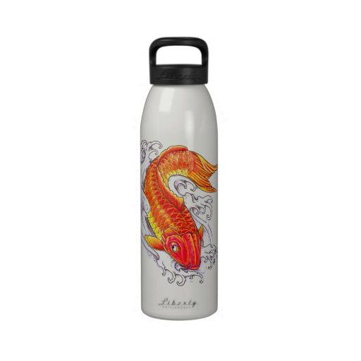 Tatuaje rojo clásico japonés oriental fresco de la botella de beber