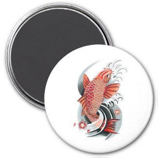 Tatuaje rojo japonés oriental fresco de los pescad imán redondo 7 cm