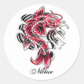 Tatuaje rojo japonés oriental fresco de los pescad pegatina redonda