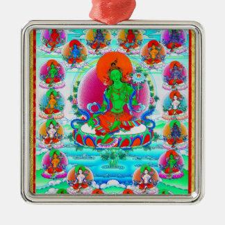 Tatuaje tibetano oriental fresco de Tara del verde Adorno Navideño Cuadrado De Metal