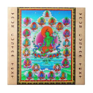 Tatuaje tibetano oriental fresco de Tara del verde Azulejo Cuadrado Pequeño