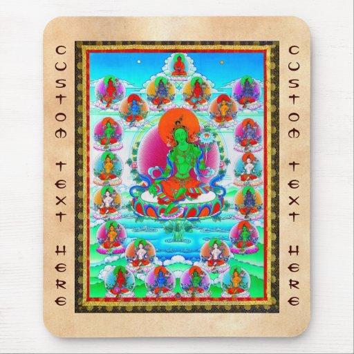 Tatuaje tibetano oriental fresco de Tara del verde Alfombrilla De Ratones