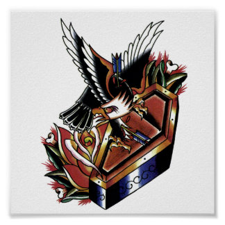 tatuaje tradicional del águila póster