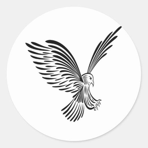 Tatuaje tribal blanco Eagle Pegatina Redonda