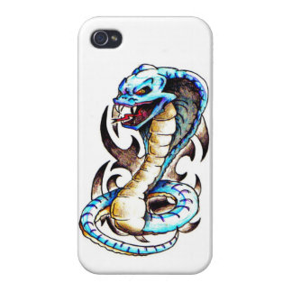 Tatuaje tribal de la cobra real iPhone 4 carcasas
