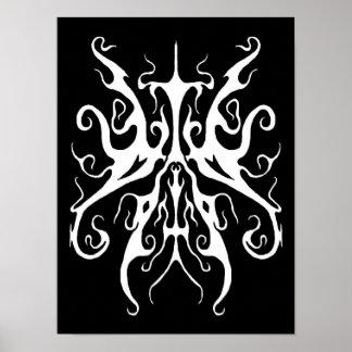 Tatuaje tribal de la elegancia - blanco en negro póster