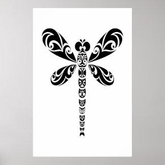 Tatuaje tribal de la libélula posters